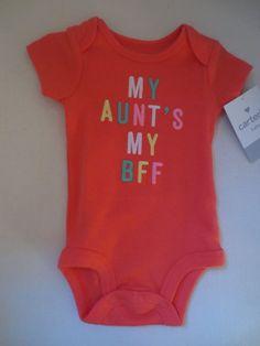 Carter's Baby Girl Slogan Bodusuit Newborn Orange My Aunt's My BFF New