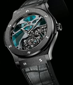 Hublot Blue Stained Glass Black Ceramic case Tourbillon