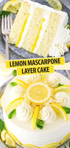 Looking for the ultimate lemon dessert recipe? This Lemon Mascarpone Layer Cake is it! Made with moist lemon cake, lemon curd & whipped mascarpone frosting! Mini Desserts, Just Desserts, Delicious Desserts, Health Desserts, Lemon Dessert Recipes, Lemon Recipes, Baking Recipes, Lemon Curd Dessert, Lemon Curd Cake