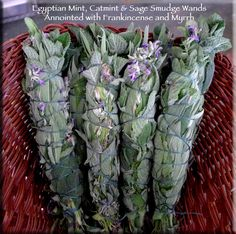 Organic Egyptian Mint, Catmint and Sage Smudge Wand with Frankincense & Myrrh for Clearing, Spiritual Cleansing, Purification by TheWitchsCorner on Etsy