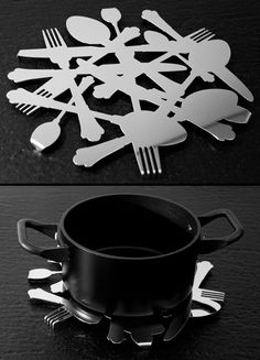 Cutlery Coasters Modern coasters created out of laser cut and folded steel sheets.