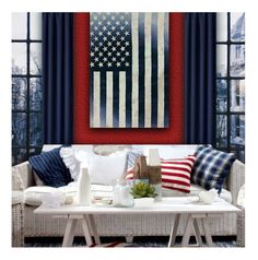 """""""Red, White and Blue!"""" by debraelizabeth ❤ liked on Polyvore featuring interior, interiors, interior design, home, home decor, interior decorating, Room Essentials and Oliver Gal Artist Co."""