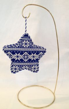 Blue Nordic Star Needlepoint Ornament Kirk & Bradley
