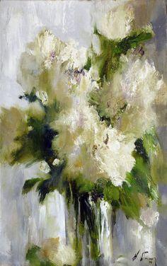 White Flowers - Nikolai Blokhin - AVIMOS ART USA-ONLY THE BEST ART