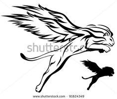 Winged lion tattoo - photo#50
