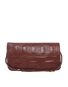Urban Code Leather Stitch Detail Clutch Bag with Shoulder Strap
