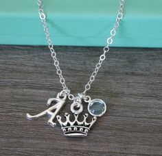Princess Necklace, Princess Crown Necklace, Personalized Princess Necklace, Letter A March Aquamarine, Custom Letter Birthstone, Silver