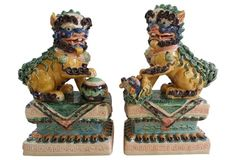 OKL sold $575... These were mine, they resold...Chinese Majolica Foo Dogs, Pair