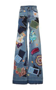 Multi patchwork embroidered medium wash jeans by Roberto Cavalli | Moda Operandi