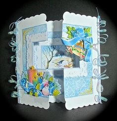 These kits make up into a lovely 7x7 inch card that doesn't need any special envelope.. They consist of a lovely framed scene, decorated with decoupaged items on the front. As always, I have included lots of decoupage sections, but you really can use just as much or as little as you choose. There are full picture instructions inside every kit, tho they really are very simple to make, as well as an optional printed back panel. Every kit also contains a gift card and a selection of greetings…
