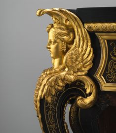 Commode, ca. 1710–32 André-Charles Boulle (French, 1642–1732) Walnut veneered with ebony and marquetry of engraved brass and tortoiseshell, gilt-bronze mounts, verd antique marble top; H. 34 1/2 x W. 50 1/2 x D. 24 3/4 in. (87.6 x 128.3 x 62.9 cm)