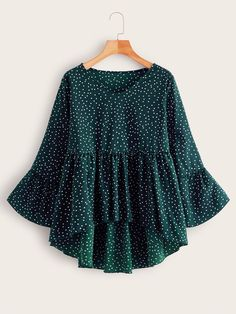 Polka Dot Dip Hem Babydoll Blouse Check out this Polka Dot Dip Hem Babydoll Blouse on Shein and explore more to meet your fashion needs! Girls Fashion Clothes, Girl Fashion, Fashion Dresses, Curvy Fashion, Plus Size Blouses, Stylish Dresses, Types Of Sleeves, Blouse Designs, Blouses For Women
