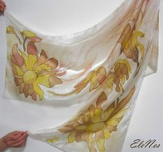 Hand painted silk scarf with large yellow-beige flowers