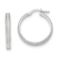 14K White Gold Polished/Satin Ridged Edge Concave Hoop Earrings (1IN Diameter). White gold 14 K. Length 25MM x Width 25MM. Thickness: 3 mm. 100% Satisfaction Guaranteed We stand behind everything we sell. If you are not satisfied with your purchase, you can return it for a replacement or refund within 30 days of purchase.
