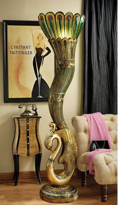 Art Deco Peacock Sculptural Floor Lamp. Isn't this cool?