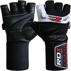 RDX Gym Weight Lifting Gloves Bodybuilding Powerlifting Crossfit Workout Fitness Breathable Wrist Support Strength Training Exercise, White