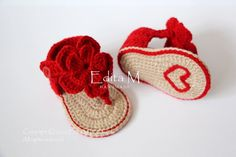 Crochet bebé sandalias sandalias de Gladiador de por EditaMHANDMADE