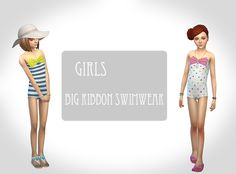The Sims 4 | ciissims Big Ribbon Swimwear | CAS clothing female child full body