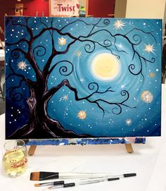 to Paint Twilight Wishes at a Painting with a Twist night out! How to Paint Twilight Wishes at a Painting with a Twist night out!, How to Paint Twilight Wishes at a Painting with a Twist night out! Cute Canvas Paintings, Canvas Painting Tutorials, Easy Canvas Painting, Diy Canvas Art, Diy Painting, Painting & Drawing, Canvas Crafts, Easy Paintings, Afrique Art