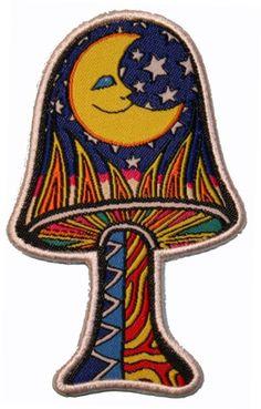 Artist Dan Morris Moon & Stars Mushroom Woven Iron by CoolPatches, $5.99
