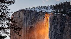 """It's the time of year for the mesmerizing phenomenon """"firefall"""" to illuminate Horsetail Fall in Yosemite National Park."""