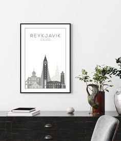 Iceland Print Reykjavik Print Wall Art Print Grey Print   Etsy Modern Prints, Large Prints, Wall Art Sets, Wall Art Prints, Orange Wall Art, Feather Wall Art, Travel Wall Art, Family Print, New York Art