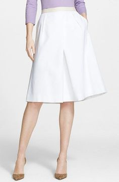 Nordstrom Signature and Caroline Issa Full Pleat Cotton Blend Skirt available at #Nordstrom