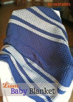 Liam Baby Blanket - free I think you'll enjoy crocheting my new pattern! Liam Baby Blanket - free I think you'll enjoy crocheting my new pattern! Crochet Afghans, Boy Crochet Patterns, Striped Crochet Blanket, Crochet Baby Blanket Free Pattern, Baby Afghans, Knitting Patterns, Simple Crochet Blanket, Crochet For Boys, Easy Crochet