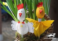 Diese Dekoideen zu Ostern werden die Lieblingsprojekte deiner Kinder sein - Plastiklöffel Hühner