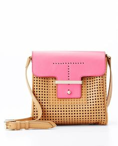 Colorblock Perforated Leather Mini Bag | Ann Taylor