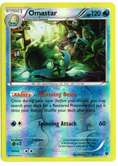 Rare Omastar reverse holographic card, in near mint condition! Comes with a soft plastic protective cover. Ships with tracking. Cards weigh almost nothing - buy lots and pay just $2.60 shipping to the