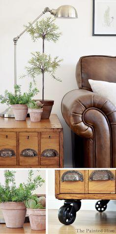 Beautiful rustic/industrial living room makeover @ThePaintedHive.blogspot.com