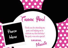 Deb's Party Designs - Minnie Mouse Thank You Cards (Inspired )W/ Photo, $1.50 (http://www.debspartydesigns.com/products/Minnie-Mouse-Thank-You-Cards-(Inspired-)W{47}-Photo.html)