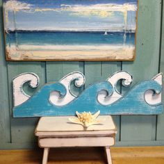 Waves Sign Wall Art Beach House Decor by CastawaysHall  Catch a wave with these weathered white and turquoise ocean waves for your beach house