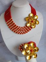 Hotsale!!!Fashion Red Gold Flower Coral jewelry set Coral necklace bracelet and earrings african wedding bridal jewelry set