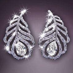 Luxury Quality 925 Sterling Steel Silver Brand Forever Needle Earrings Peacock Feather Flower Austrian Crystal Dangle Earrings