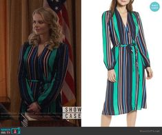 Eve's striped wrap dress on Supergirl Wrap Blouse, Wrap Dress, Fashion Tv, Fashion Outfits, Grey Suede Jacket, Other Outfits, Supergirl Outfit, Navy And Green, Nordstrom Dresses