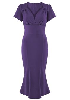 1940s Purple Victory Dress - Fashion 1930s, 1940s & 1950s style - vintage reproduction