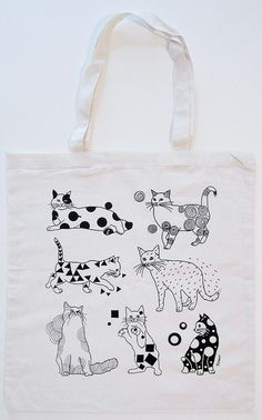 Cats Canvas Tote Bag by boyounillo on Etsy