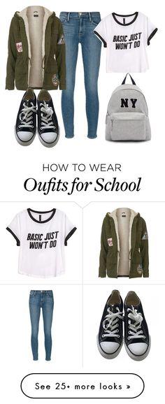 Jeans de mezclilla; polera basica blanca, con frase estampada; chaqueta de polar (tipo parca), color verde militar; zapatillas negras (tipo converse); y mochila color gris. Look para ir a la escuela o salir al parque.