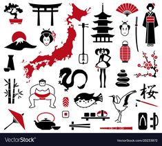 Illustration of Japan icons vector art, clipart and stock vectors. Japan Design, Japan Tattoo Design, Japan Illustration, Japanese Drawings, Japanese Tattoo Art, Japanese Sleeve Tattoos, Japanese Prints, Japan Icon, Design Japonais