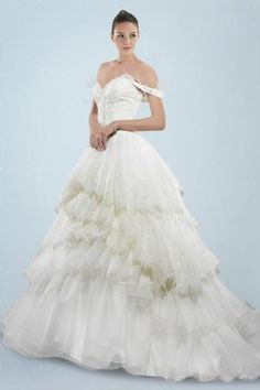 Fashionable Off-the-shoulder Princess Wedding Dress with Feather Embellished and Tiered Skirt | Bridalpure.com