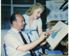 Mary Costa, voice of Aurora, with Marc Davis