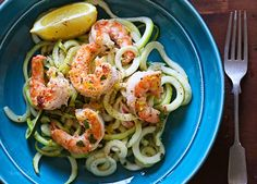 Shrimp Scampi Zoodles for Two - Calories: 161 - Smart Points: 4 - Skinnytaste Skinny Recipes, Shrimp Recipes, Paleo Recipes, Cooking Recipes, Veggie Recipes, Delicious Recipes, Free Recipes, Shrimp Scampi Zoodles, Veggie Noodles