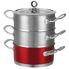 Morphy Richards Accents 3 Tier Steamer - 18 cm diameter stainless steel pan with 2 steaming layers and glass lid. Base pan can also be used without the steaming layers as a casserole pan or with either one or both layers. £45. #MorphyRichards