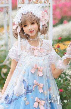 R-series -Blue Bird- Vintage Classic Lolita OP Dress Girls Dresses, Flower Girl Dresses, Lolita Dress, Blue Bird, Wedding Dresses, Classic, Vintage, Fashion, Dresses Of Girls