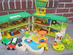 Vintage Fisher Price/Playskool Holiday Inn Family Vacation Giant Play Set. $135.00, via Etsy.