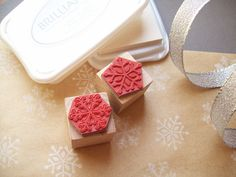 Snowflakes Rubber Stamp Set of 2 Decorating and by stampcouture, $10.00