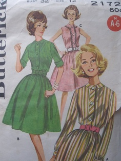 Vintage Round neck shirtdress pattern, actually in my size!