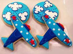 Airplane Decorated Sugar Cookies 1 Dozen by LaPetiteCookie on Etsy, $36.00